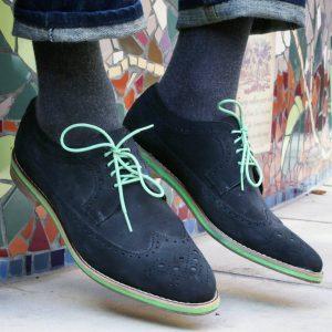6 Dark Grey Suede Brogue Shoes & Blue Jeans Pants