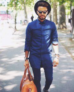 6 Long Fitting Blue Shirt & Matching Slim Fit Blue Pants
