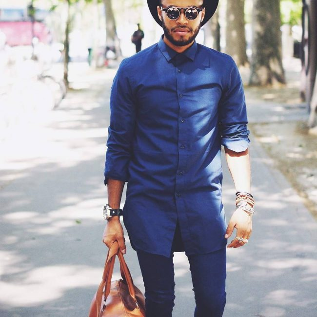 6 Long Fitting Blue Shirt & Matching Slim Fit Blue Pants