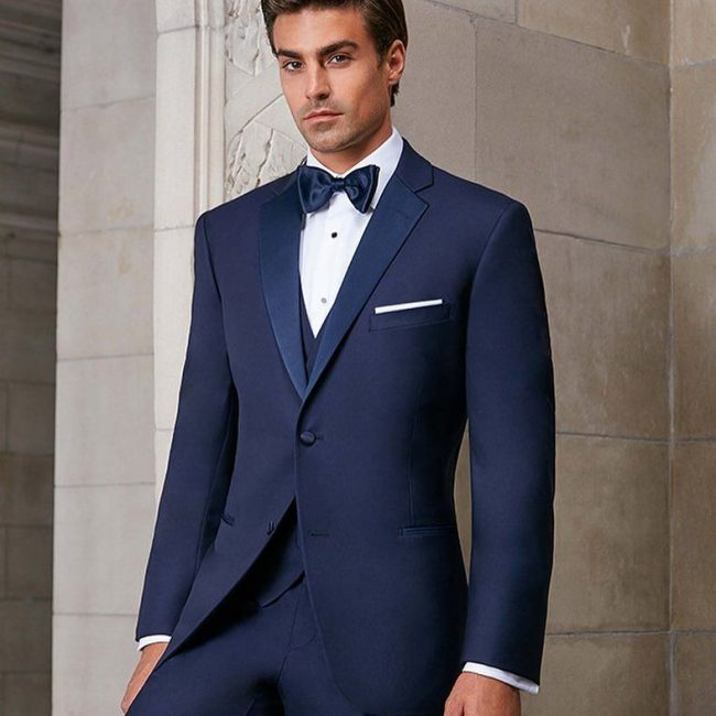 6 Navy Blue Three Piece Suit With Matching Bow Tie