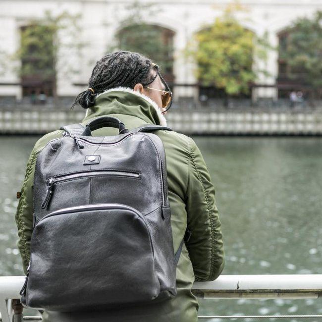 7 Black Backpack & Jungle Green Jacket
