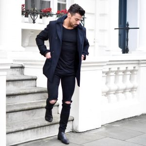 7 Black Casual Boots & Navy Blue Coat