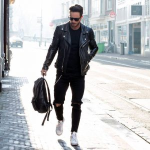 7 Black Leather Jacket and Backpack Combo