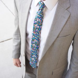 7 Blue Flowered Skinny Tie
