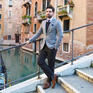 7 Brown Loafers & Grey Checkered Blazer