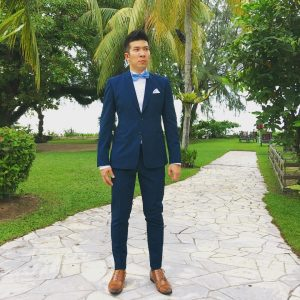 7 Midnight Blue Suit & Light Brown Leather Shoes