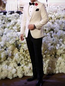 7 Royal White Blazer with Black Trousers