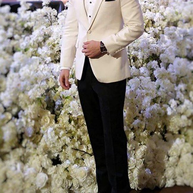 7 Royal White Blazer with Black Trousers