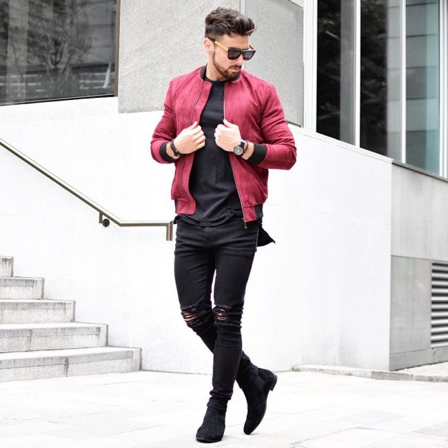 8 All Black Style with Red Jacket