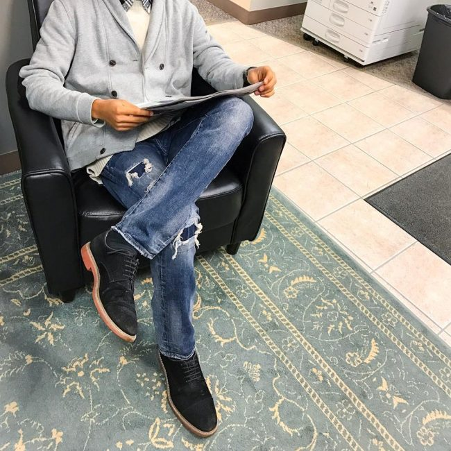 8 Black Suede Shoes & Torn Grey Jeans