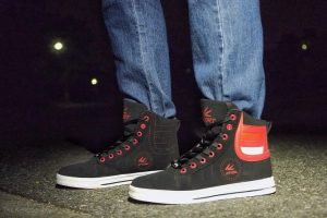 8 Blue Jeans with Black and Red High Tops