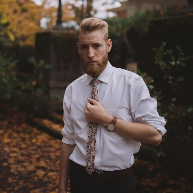 8 Brown Flowered Skinny Tie