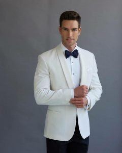 8 Clashed Cream White and Black Suit