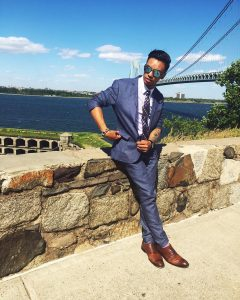8 Dark Blue Suit & Tan Brown Leather Shoes