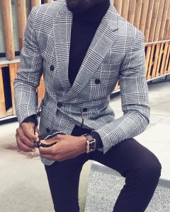 8 Grey Checked Double Breasted Coat with Black Polo Neck