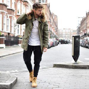 8 Light Brown Boots & Jungle Green Hoodie Jacket