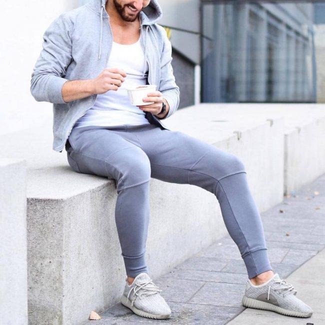 8 Light Grey Hoodie Joggers Suit