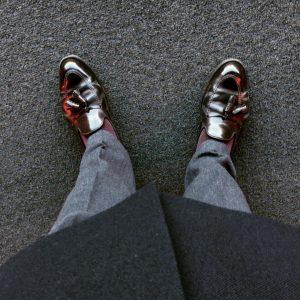 9 Black-Brown Loafers & Grey Long Coat
