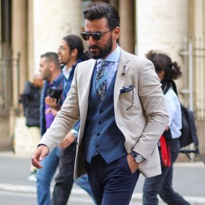 9 Cream White Blazer Clashed with a Blue Suit