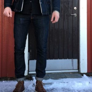 9 Dry Blue Jeans Suit & Tan Brown Boots
