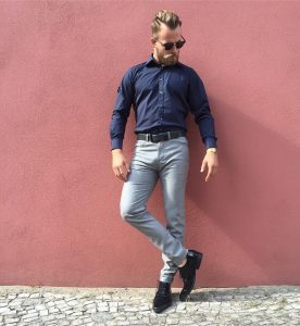 9 Fitting Blue Shirt & Fitting Grey Pants