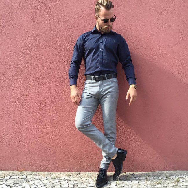 9 Fitting Blue Shirt & Fitting Grey Pants