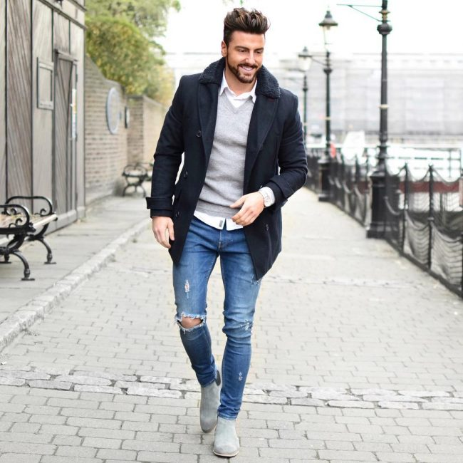 9 Grey Boots & Navy Blue Long Jacket