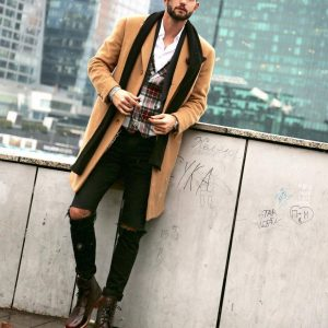 9 Long Overcoat and Ripped Denims