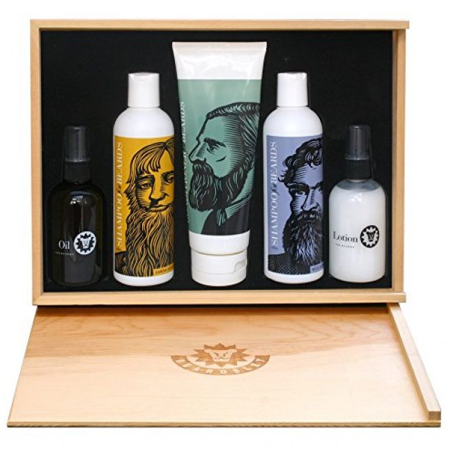 Beardsley In The Box Beard Care Gift Set - Full Size Beard Shampoo, Beard Conditioner, Beard Lotion and Beard Oil