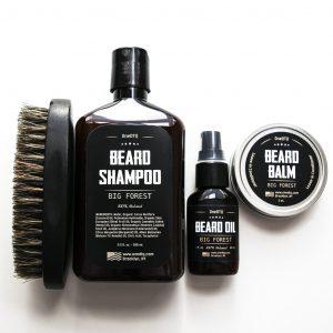 Big Forest Beard Grooming Kit Beard Growth - Beard Shampoo, Beard Oil, Beard Balm, Beard Brush - Wood Scent