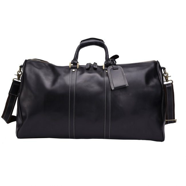 Men's Genuine Leather Weekend Overnight Travel Duffel Bag Boarding Bag