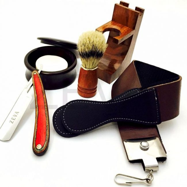 mens-wood-5-pieces-cut-throat-straight-edge-razor-strop-bowl-brush-soap-shaving-gift-set