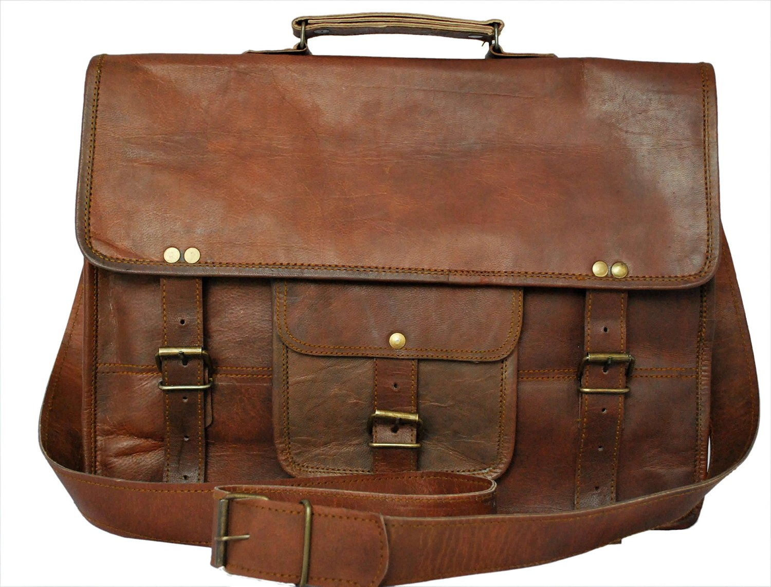 Rustic Town Genuine Leather Laptop Bag Leather Messenger bag 15