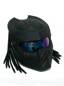 SY15 Custom Predator Motorcycle DOT ECE Approved Helmet Matt Black (M)