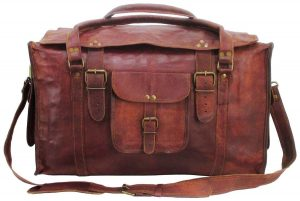 Vintage Crafts 21 Mens Retro Style Carry on Luggage Flap Duffel Leather Duffel Bag