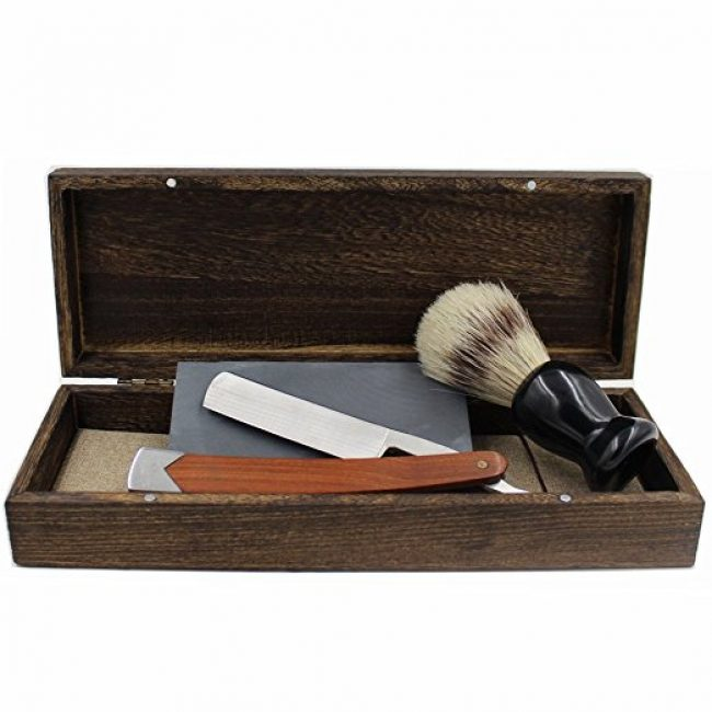 vintage-cut-throat-straight-razor-solid-wood-stainless-steel-combo-handle-bristle-shaving-brush-natural-whetstone-and-wooden-box-set