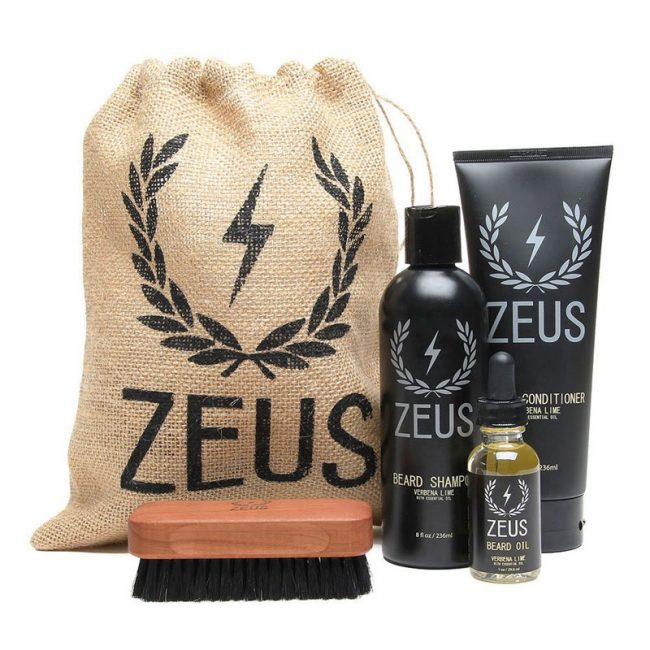Zeus Deluxe Beard Grooming Kit for Men - Beard Care Gift Set to Soften Hairs and Prevent Itchiness and Dandruff (Scent Sandalwood)