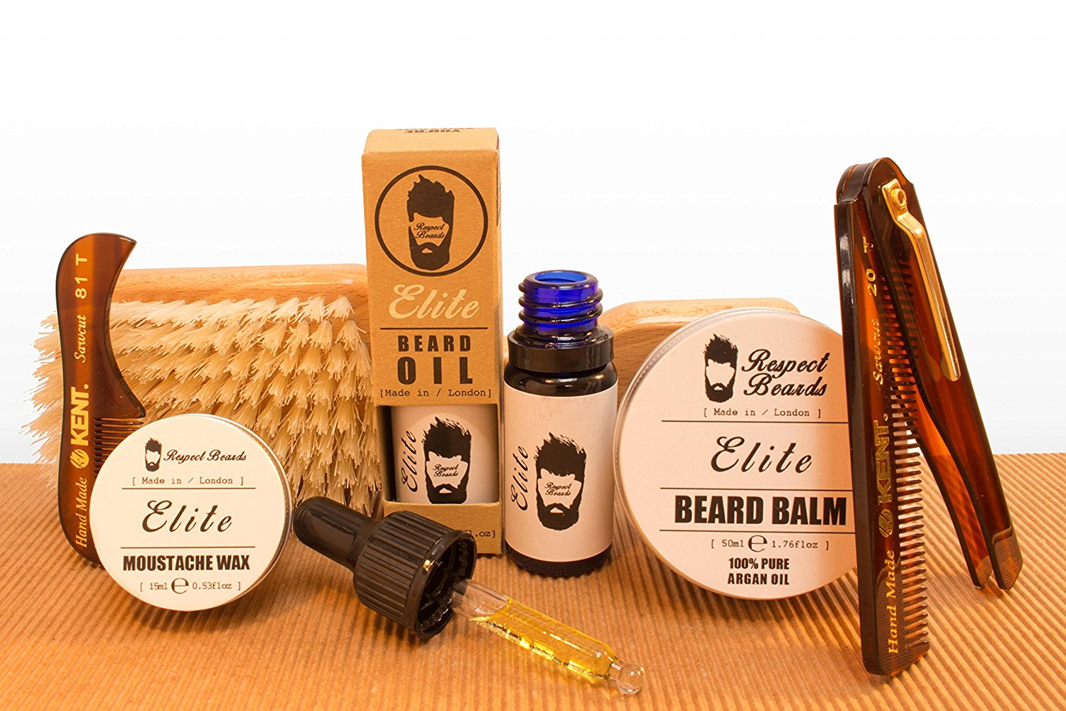 Luxury Full Beard Care Kit with Combs & Brush - Elite by...