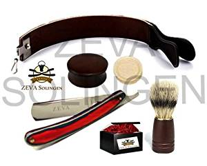 Men's Wood 5 Pieces Cut Throat Straight Edge Razor Strop Bowl Brush...