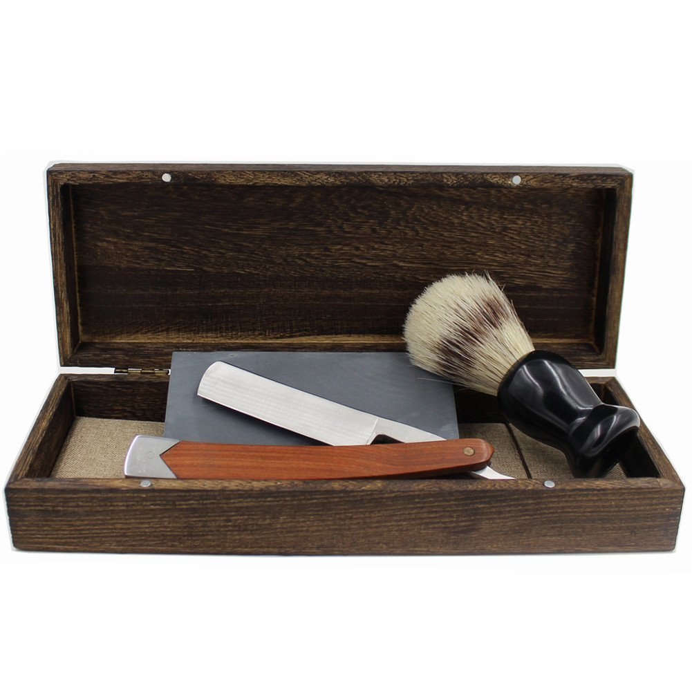 Vintage Cut Throat Straight Razor Solid Wood & Stainless Steel Combo Handle...