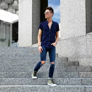 1 Dark Blue Shirt with Ripped Jeans