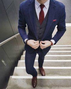1 Gray Four Button Suit Vest