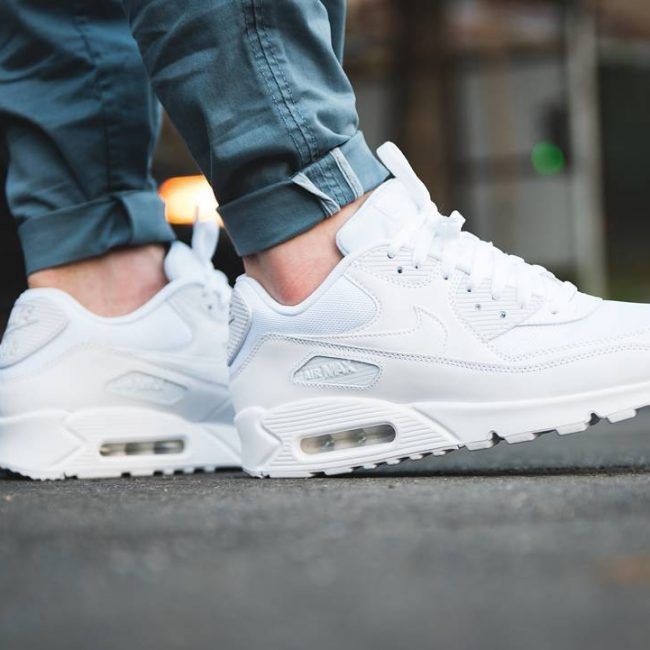 1 Triple White Air Max 90 with Jeans