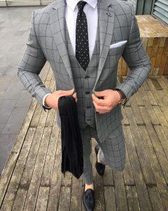 10 Cloth Gray with Black Stripes Suit Vest