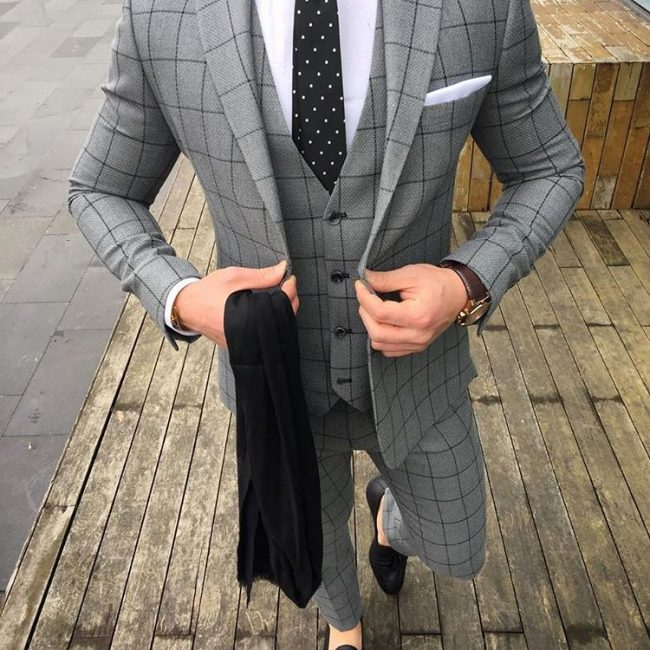 10 Cloth Gray with Black Stripes Suit Vest