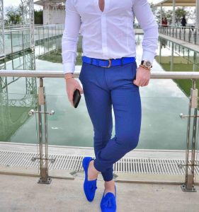 10 Slim-Fit Royal Blue Pants & Fitted White Shirt