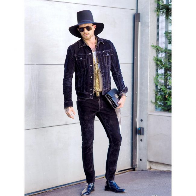 10 Styling Diesel's Dark Purple Corduroy Jacket and Jeans