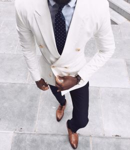 10 White DB and Navy Dress Pants