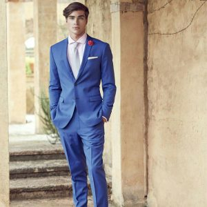 11 Light Grey Tie & Fitted Blue Suit