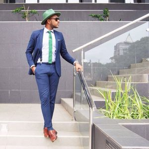 11 Midnight Blue Modern Fit Suit With Suspenders